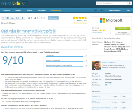 Review of Microsoft Business Intelligence at TrustRadius